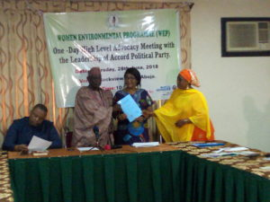 The National Chairman of Accord Party and the National Secretary receiving the Charter of Demands from the National Woman Leader
